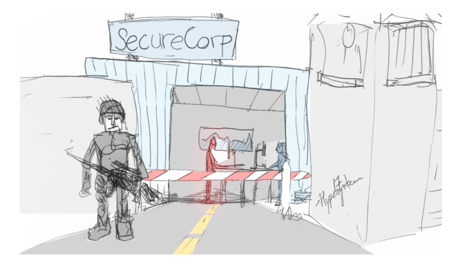 SecureCorp offices are illustrated, with a guard and a guard tower protecting them. One employee, working at a computer, is highlighted in red: the vulnerability.