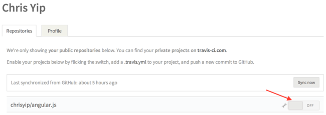 Travis CI Enable Project