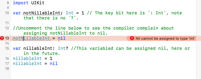 An image showing a non nillable variable being assigned nil