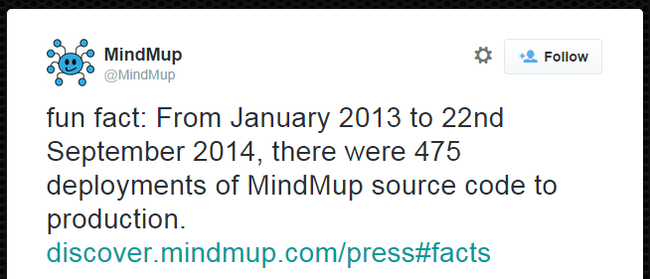 @MindMup: fun fact: From January 2013 to 22nd September 2014, there were 475 deployments of MindMup source code to production. http://discover.mindmup.com/press#facts