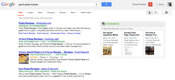 Google search with Evernote's related results