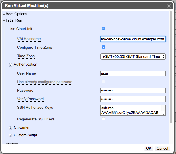 Run Once Dialog -- Hostname, timezone and authentication information