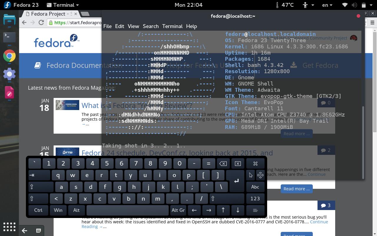 Install Onboard keyboard in Fedora 23