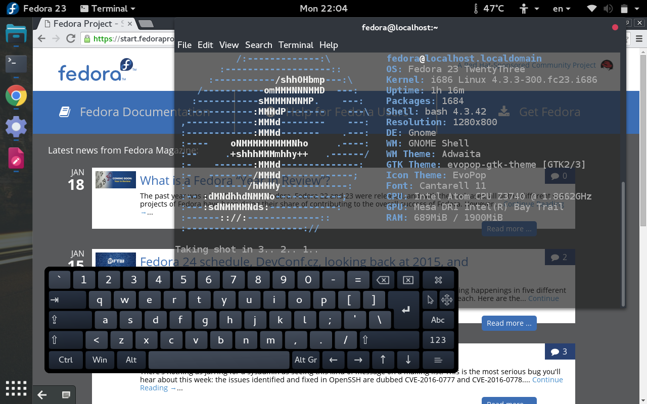 Install Onboard keyboard in Fedora 23