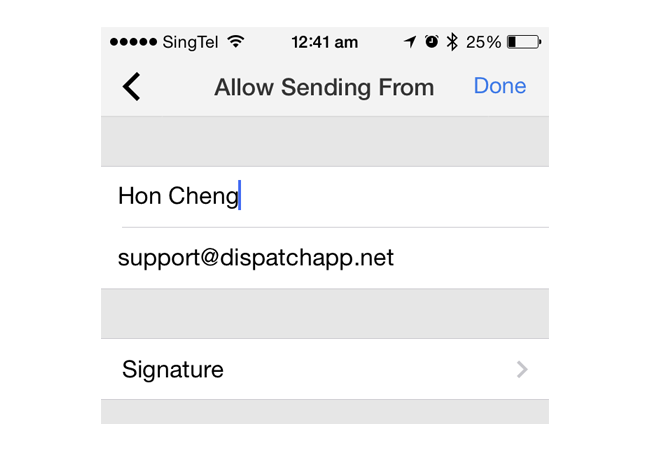 custom signature for each alias in Dispatch email client for iPhone
