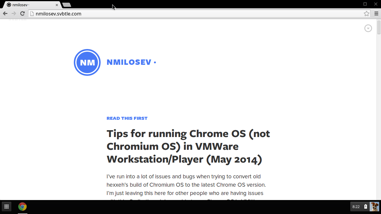 Tips for running Chrome OS (not Chromium OS) in VMWare