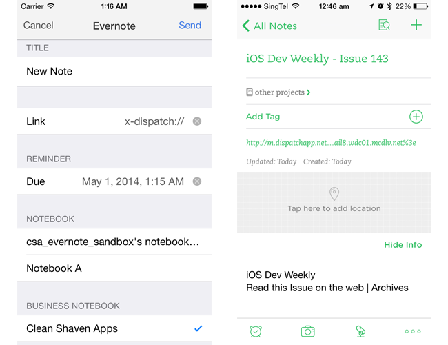Evernote business notebook and saving links to email in Evernote app in Dispatch