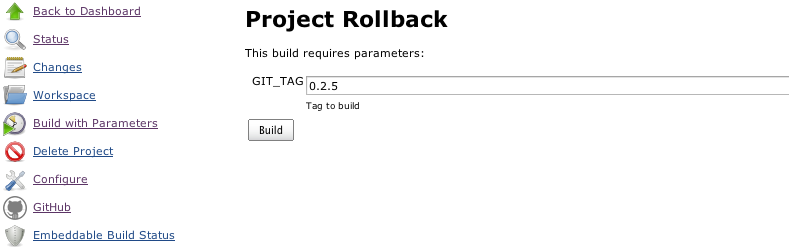 Parameterized Jenkins build for rollback purposes
