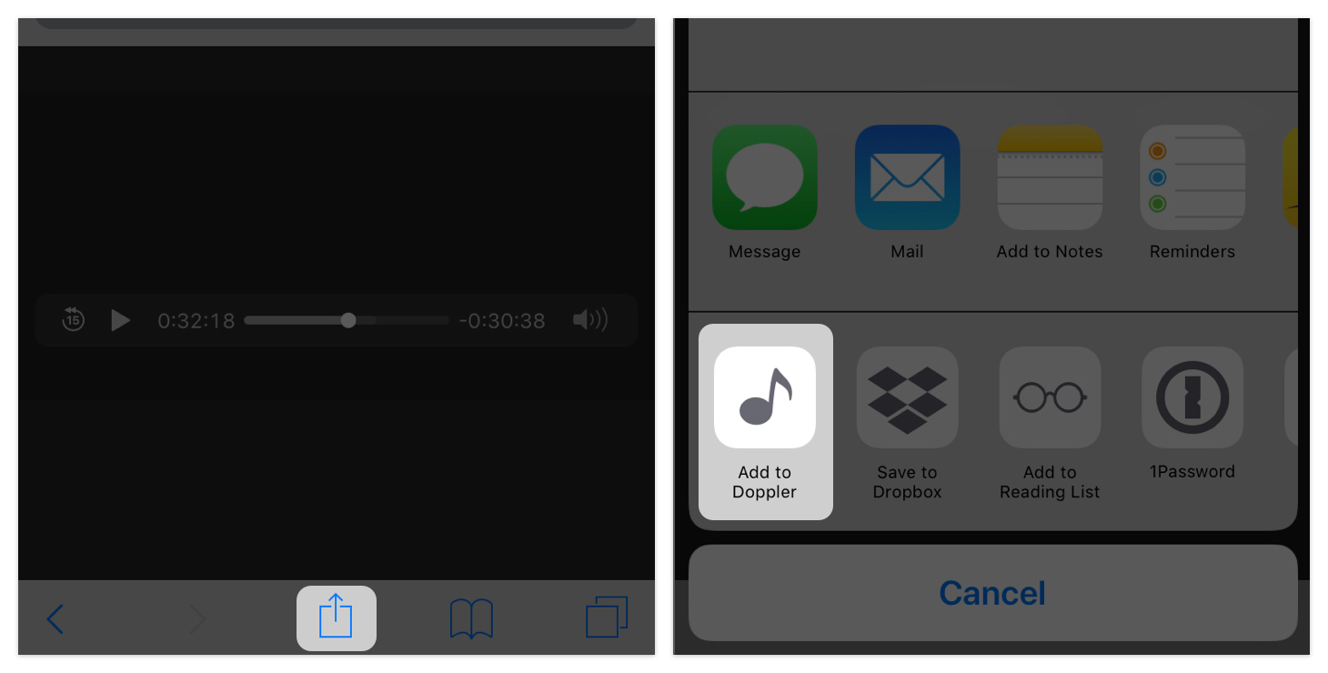 Importing music from Safari with Doppler