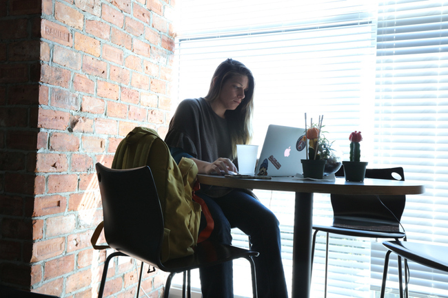 Alyssa working at Code School