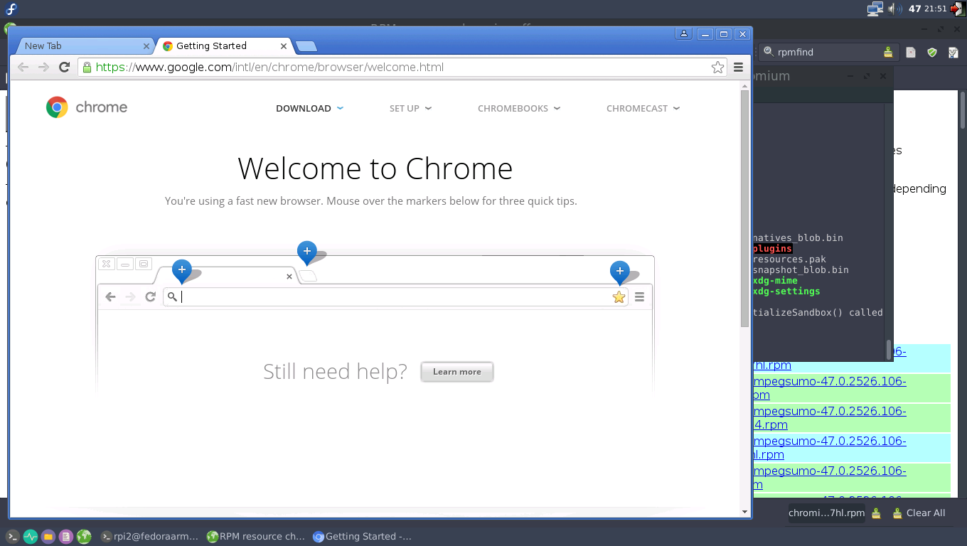Chromium browser on Fedora ARM (23, LXDE) - Raspberry Pi 2