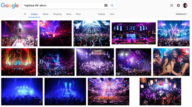 Google images search results indicating no album cover present