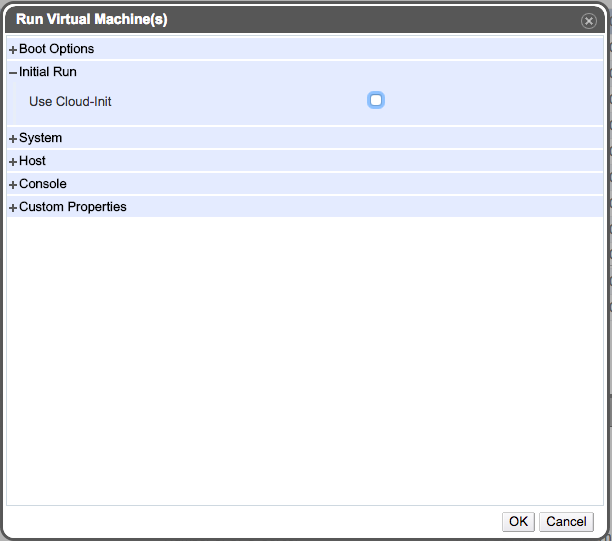 Run Once Dialog -- unchecked cloud-init checkbox