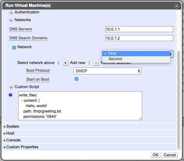 Run Once Dialog -- Network configuration DHCP