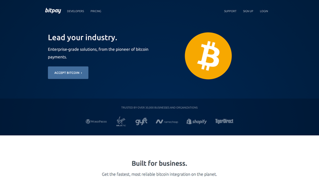 BitPay's updated web presence.